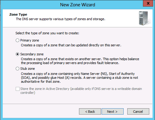 DNS Secondary Zone Windows Server 2008 2012