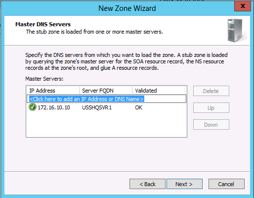 new zone wizard step 3 DNS Secondary Zone Windows Server 2008 2012