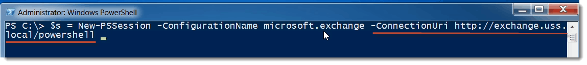 PowerShell Remoting specify server in Exchange Management Shell