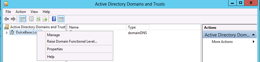 properties Active Directory domain forest level trust in Windows Server