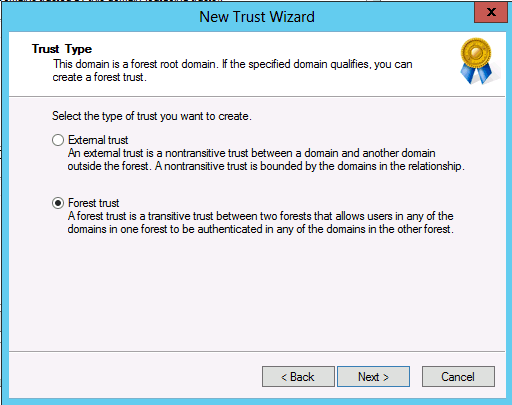 How to configure Forest Level Trust in Windows Server 2008