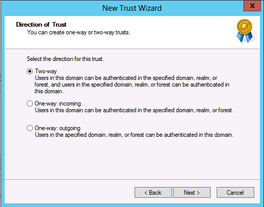 trusts type two way Active Directory domain forest level in Windows Server