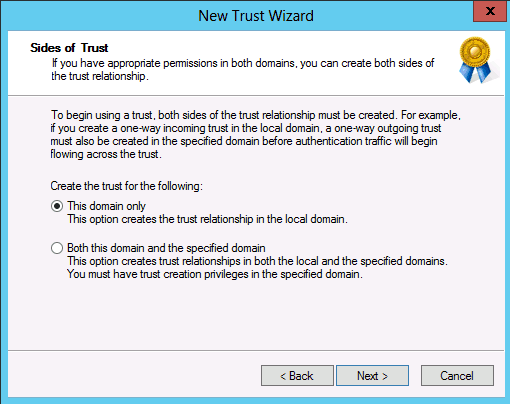 this domain only forest level trust in Windows Server