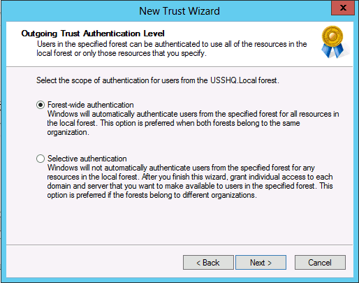 forest wide authentication forest level trust in Windows Server