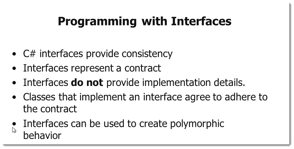Programming with C# Interfaces