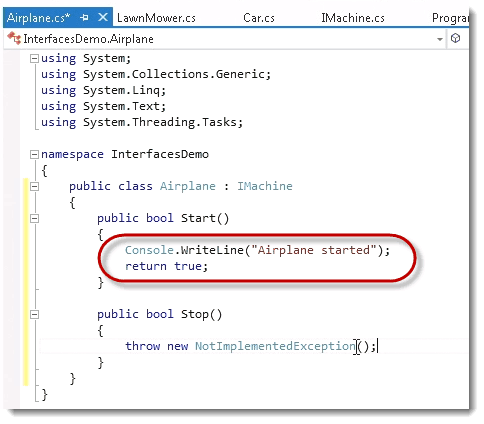 Airplane start C# Interfaces and Polymorphic Behavior