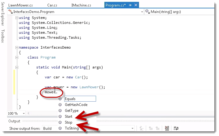 Start and Stop commands in C# Interface