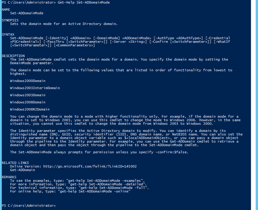 003-Get-Help-ADDomainMode-PowerShell-rollback-AD-DS-Domain