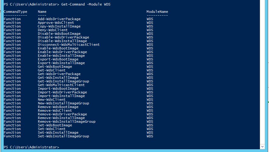 003-Get-Command–Module-WDS-PowerShell-CMDLETS-support-for-Windows-Deployment-Services