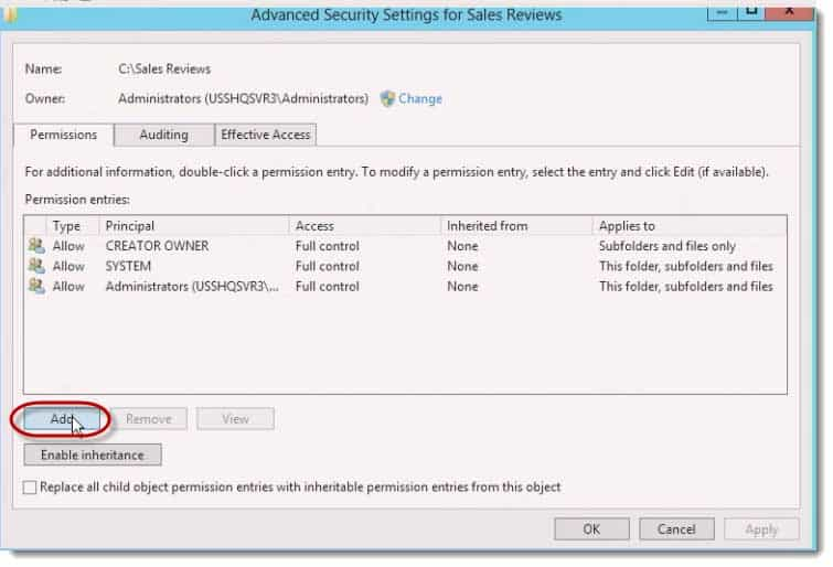 How to configure Compound NTFS Permissions in Server 2012
