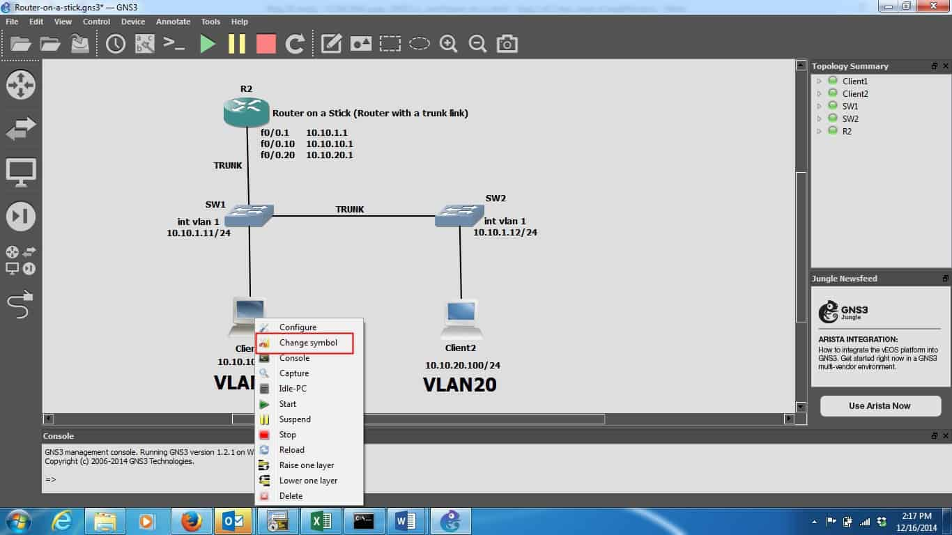 CCNA Route & SWitch prep, GNS3 1 x, and Router-on-a-stick!