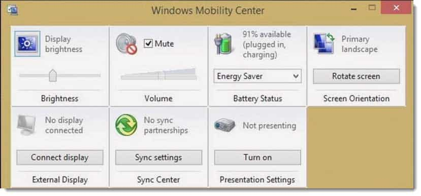 Configuring Windows 8 1 Mobility Center and How to Turn it On and Off