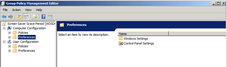 Using Group Policy Object Preferences for Screen Saver Grace