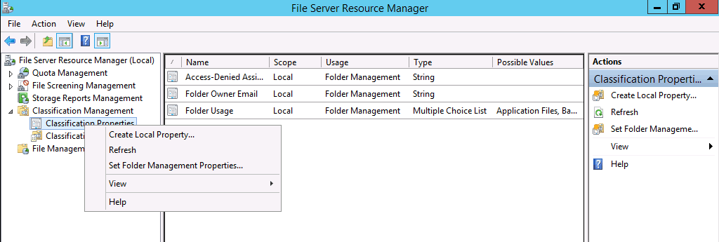 File Server Resource Manager Classification Property