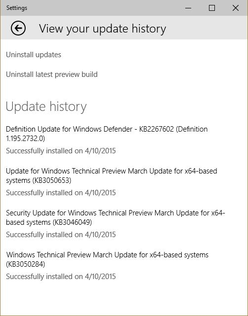 Windows 10 – Exploring Security. Update History