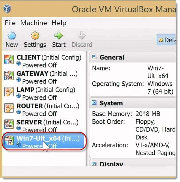 Connecting to Win 7 vm Box in GNS 3 Virtual Box