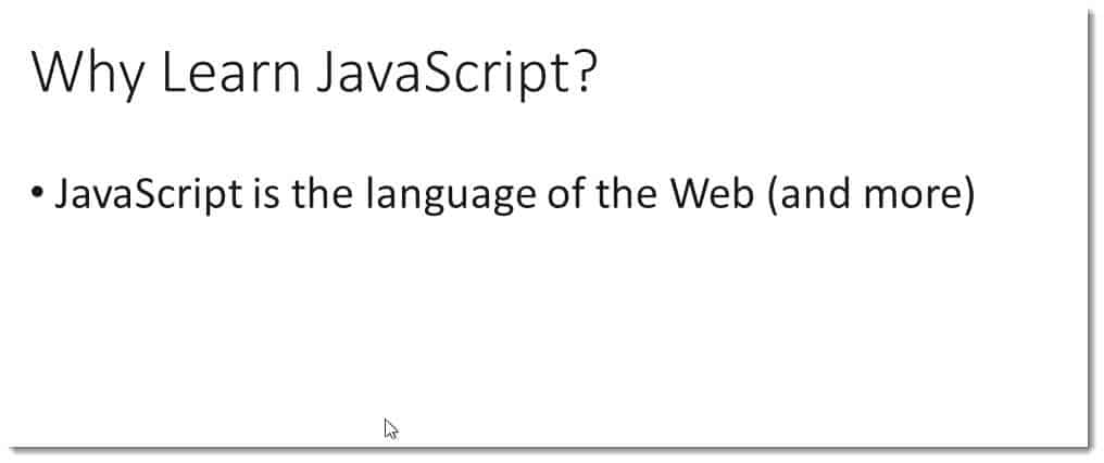 Client-side presentation images of why you need to learn JavaScript
