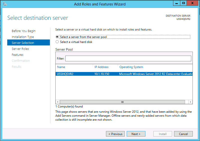 Destination Server Installing FSRM File Server Resource Manager in Windows Server 2012