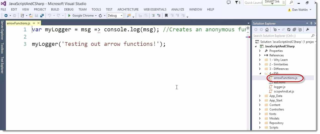 Lamnda Code Example ECMAScript 6 (ES6) – The Future Look of JavaScript for C# Developers