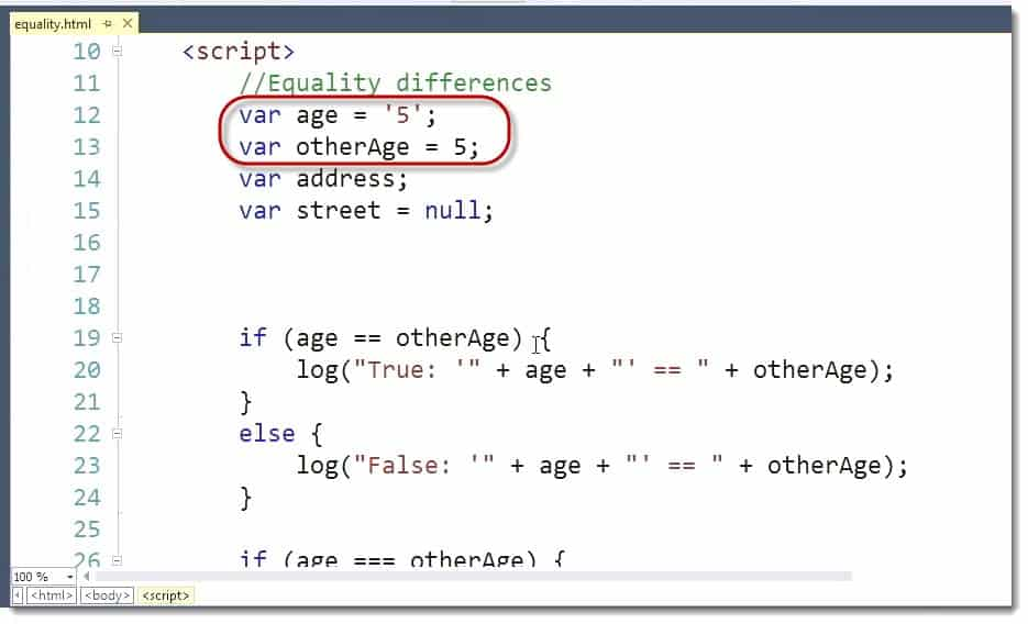 Equality Code Example language Differences Learn JavaScript for C# Developers