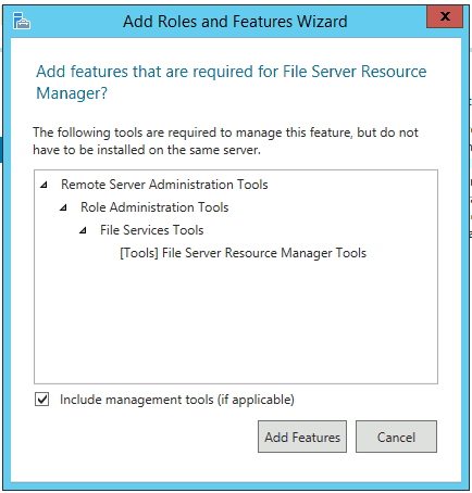 File Services Tools Installing FSRM File Server Resource Manager in Windows Server 2012