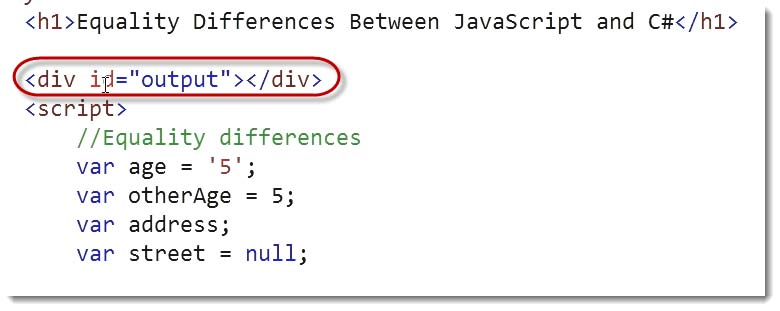 Equality Output div code language Differences Learn JavaScript for C# Developers