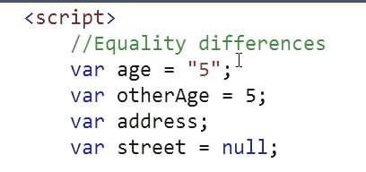"Equality double quotes """" example code Learn JavaScript for C# Developers"