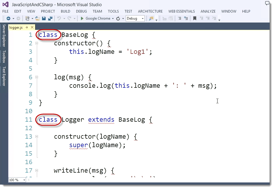 Visual Studio Functions ECMAScript 6 (ES6) – The Future Look of JavaScript for C# Developers