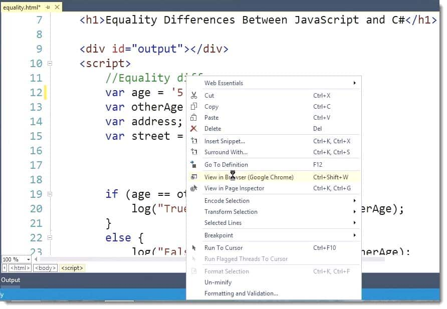 C# Code view Differences Learn JavaScript for C# Developers