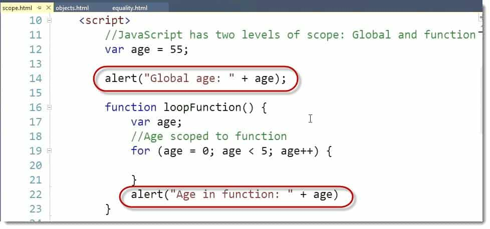 Scope Example Code in Visual Studio - Learn JavaScript for C# Developers