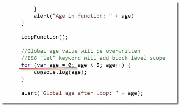 Var Age Example code - Learn JavaScript for C# Developers