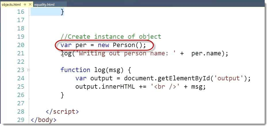 Create Instance of Object - Learn JavaScript for C# Developers