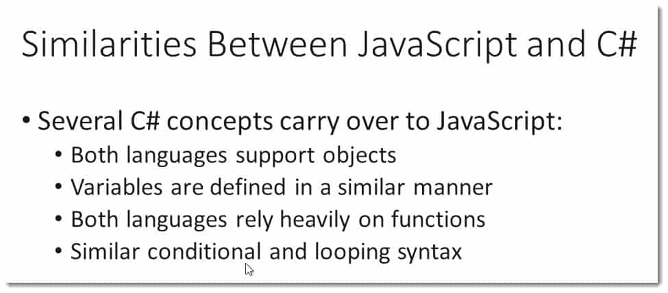Similarities Between JavaScript and C# Learning JavaScript for C# Developers Webinar