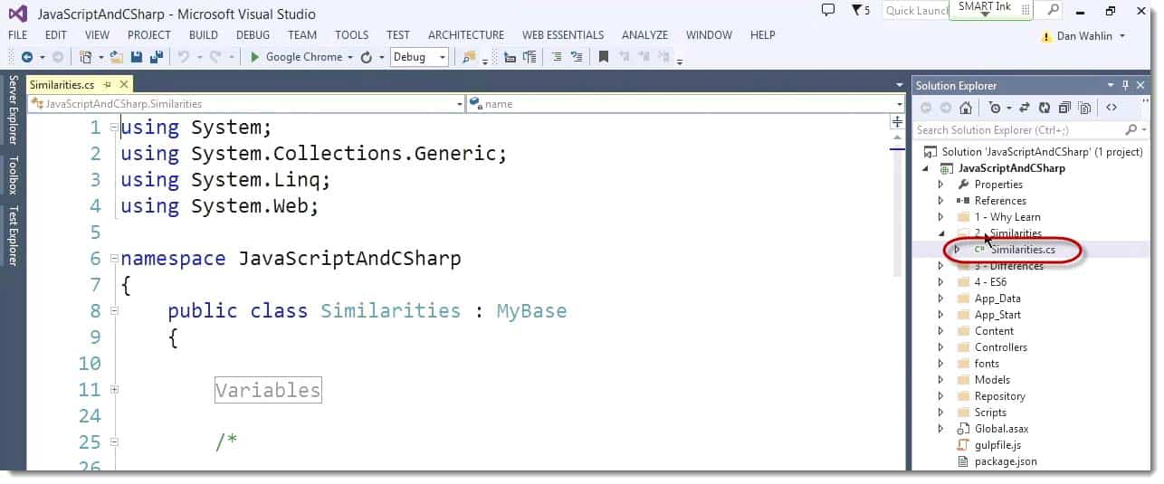 SimilaritiesCS in Microsoft Visaul Studio Learning JavaScript for C# Developers Webinar