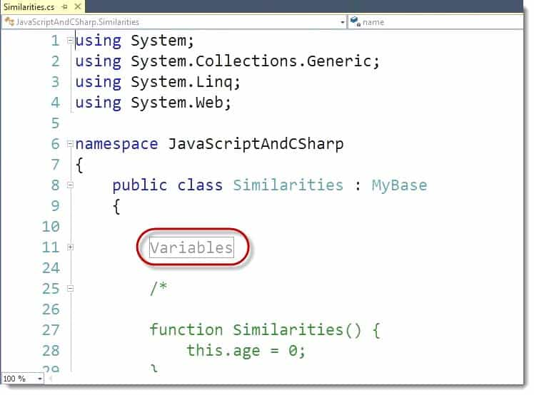 Variable Visual Studio C# Learning JavaScript for C# Developers Webinar