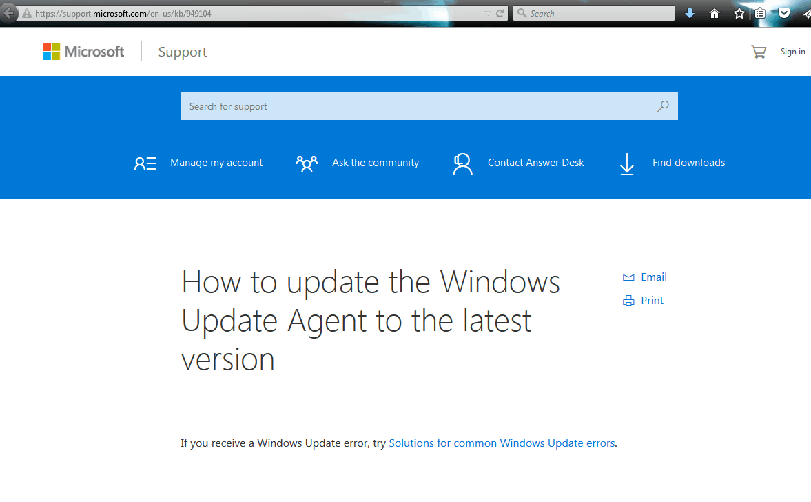 Windows update troubleshooter - 001 Windows Update Agent
