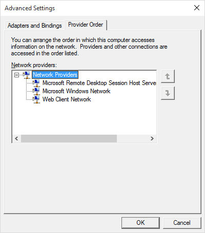 Changing the Network Provider Order in Windows 10