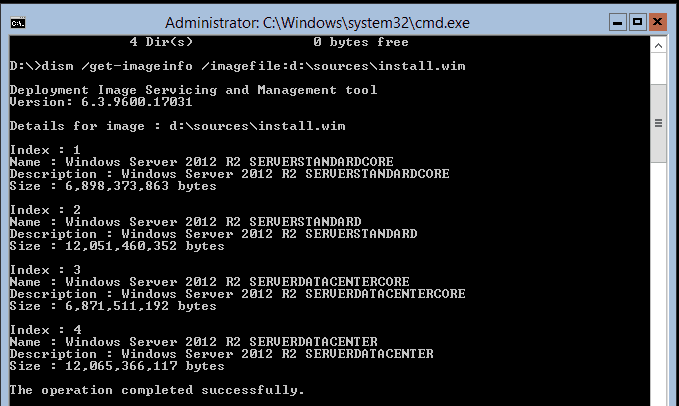 Using PowerShell to convert to the Full Graphical Shell on a Windows Server 2012 R2 Datacenter Core Edition.