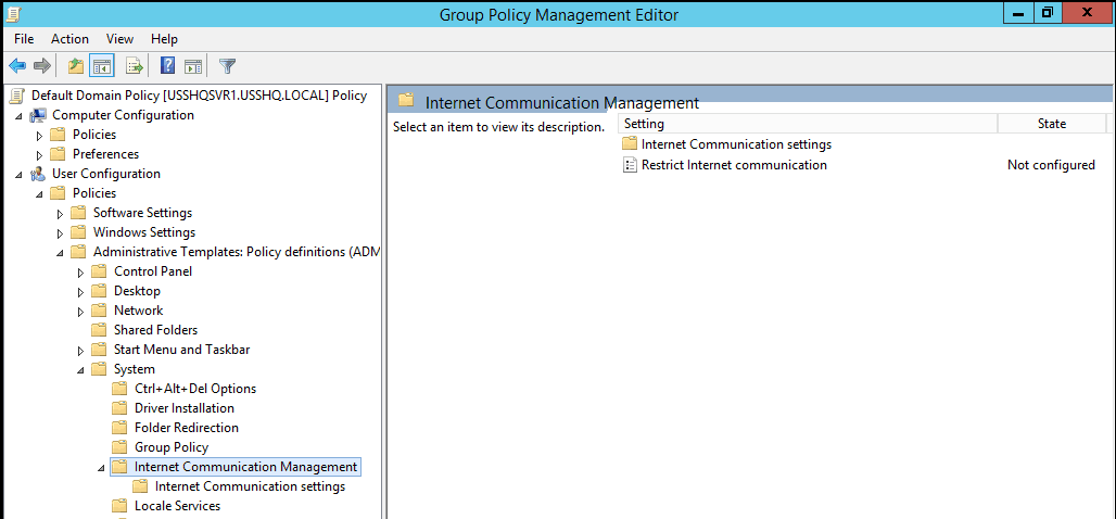 Configuring Internet Restrictions Communications with Group Policy