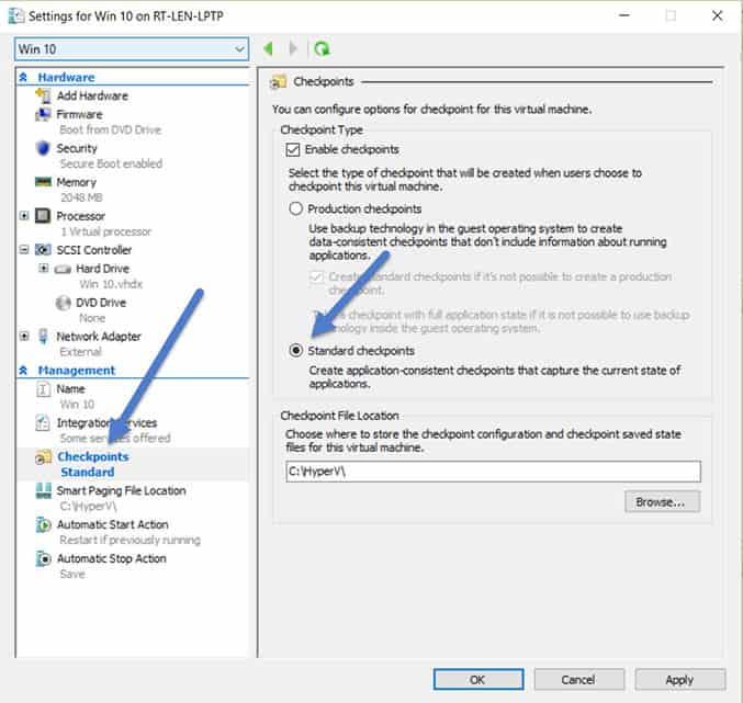 Windows 10 and Server 2016 Hyper-V Checkpoints Standard vs