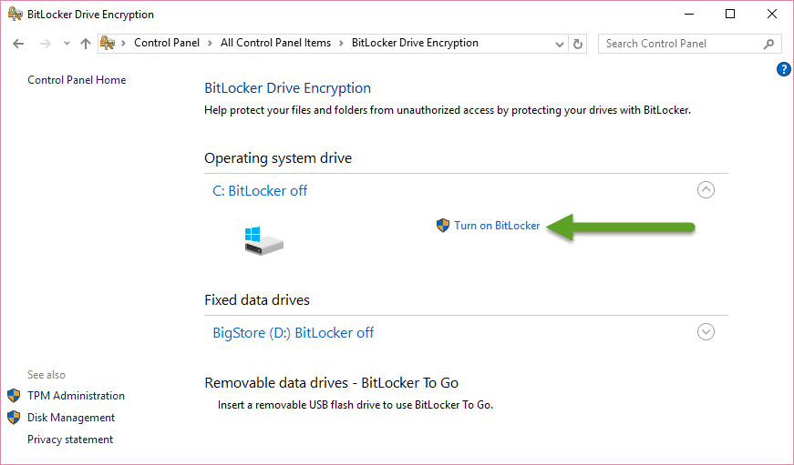 Enabling BitLocker Drive Encryption in Windows 10 without TPM