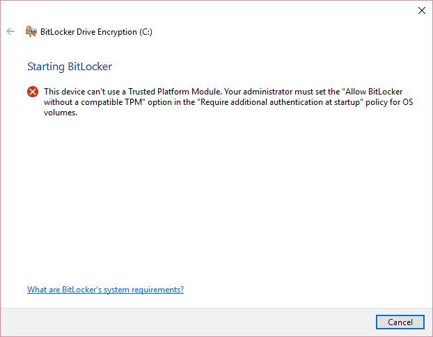002-error-enabling-BitLocker-drive-encryption-in-Windows-10-without-TPM