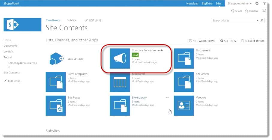 Creating Lists and Libraries in SharePoint | Interface Video