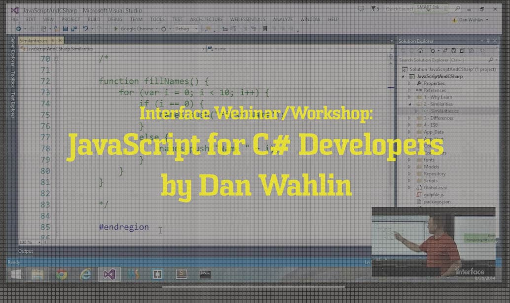 JavaScript for C# Developers by Dan Wahlin video image